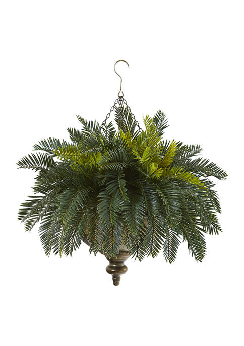Nearly Natural Cycas Plant in Metal Hanging Bowl