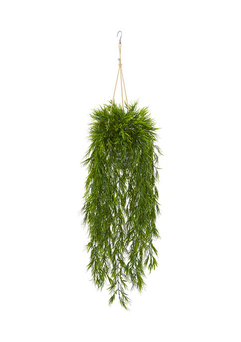 Nearly Natural Mini Bamboo Plant in Hanging Metal