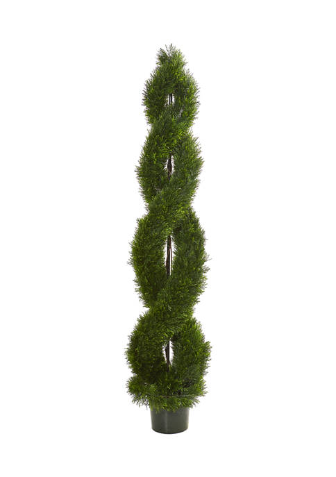 Nearly Natural Double Pond Cypress Spiral Topiary Tree
