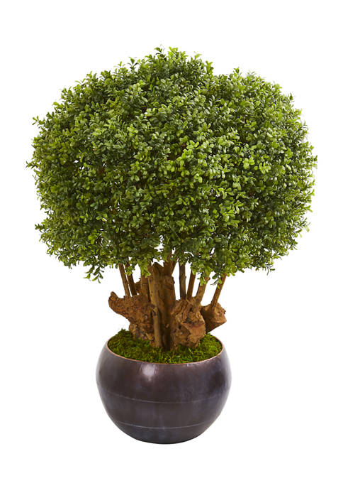 Nearly Natural Boxwood Topiary Tree in Decorative Bowl