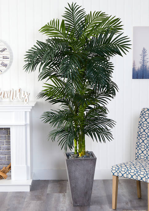 Nearly Natural Golden Cane Palm Tree in Cement