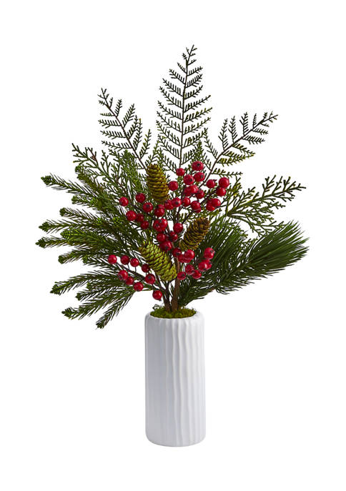 23 Inch Mixed Pine, Pinecone and Berry Artificial Arrangement in White Vase