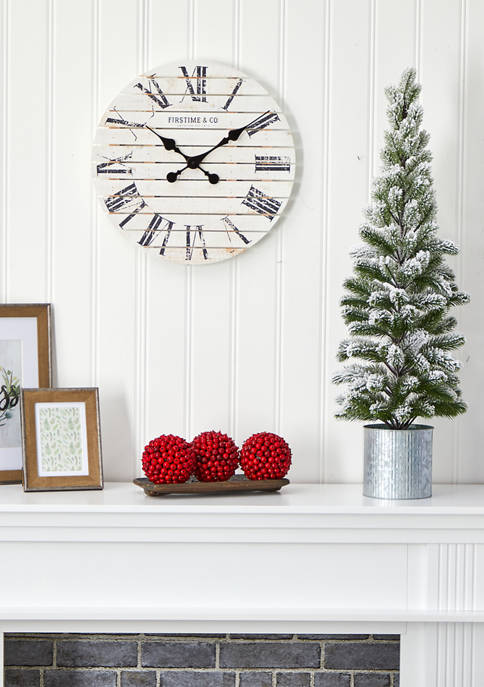 Nearly Natural 3 Foot Flocked Christmas Pine Tree