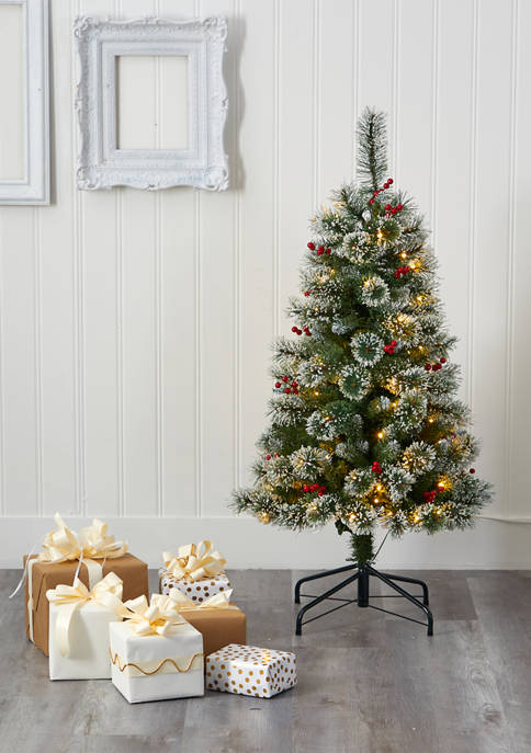 Nearly Natural 4 Foot Frosted Swiss Pine Christmas