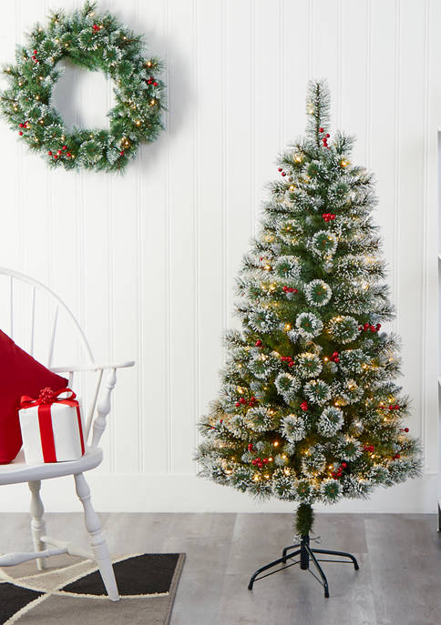 Nearly Natural 5 Foot Frosted Swiss Pine Christmas