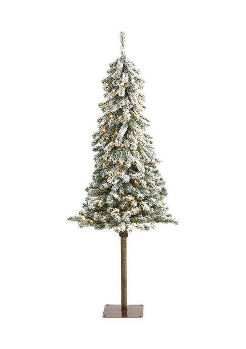 Nearly Natural 5 Foot Flocked Alpine Christmas Artificial