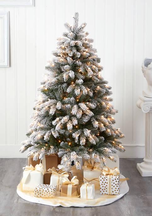 Nearly Natural Flocked South Carolina Spruce Christmas Tree