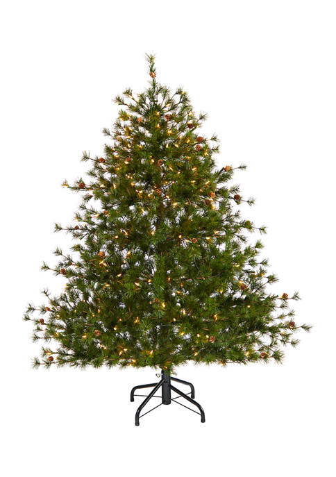 5 Foot Colorado Mountain Pine Artificial Christmas Tree with 250 Clear Lights, 669 Bendable Branches, and Pine Cones