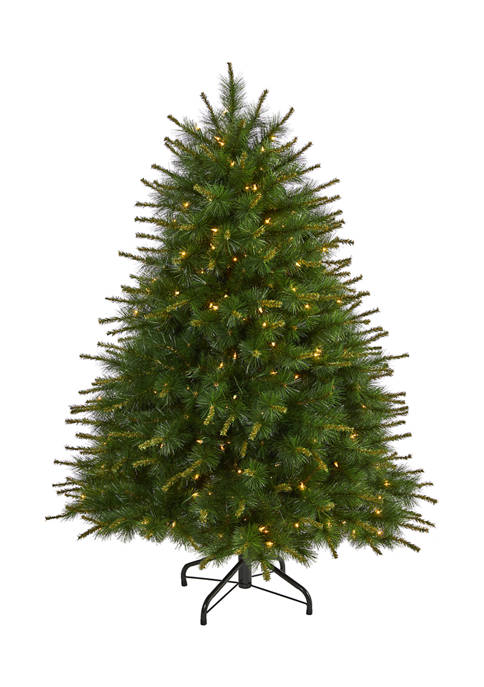 5 Foot New England Pine Artificial Christmas Tree with 200 Clear Lights and 492 Bendable Branches