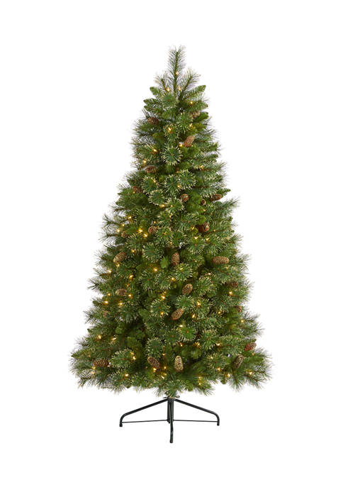 6 Foot Golden Tip Washington Pine Artificial Christmas Tree with 250 Clear Lights, Pine Cones and 750 Bendable Branches