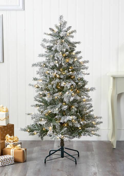 Nearly Natural Flocked Nova Scotia Spruce Christmas Tree