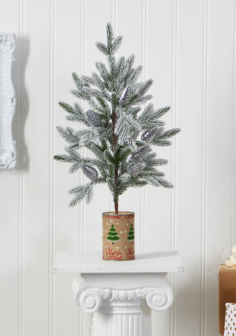 Nearly Natural Flocked Christmas Tree in Decorative Planter