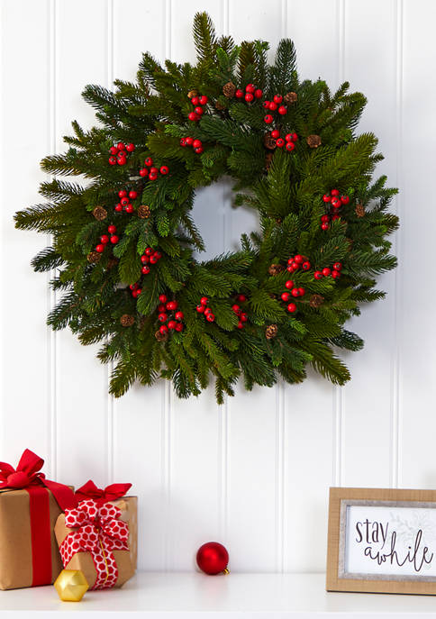 Nearly Natural Pinecone and Berry Wreath