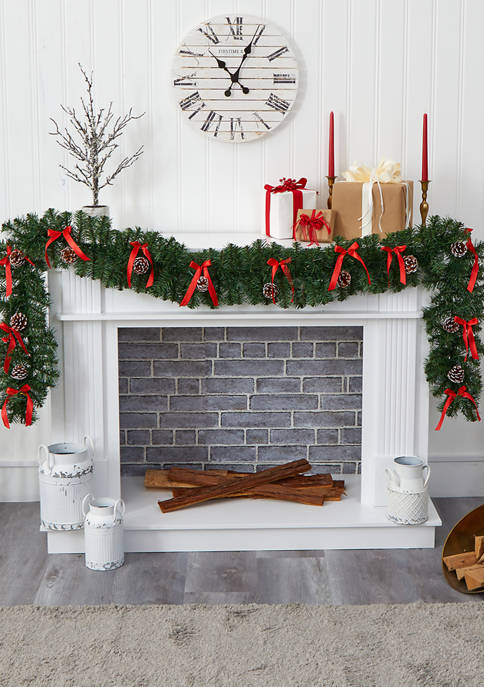 Nearly Natural Bow and Pinecone Christmas Garland