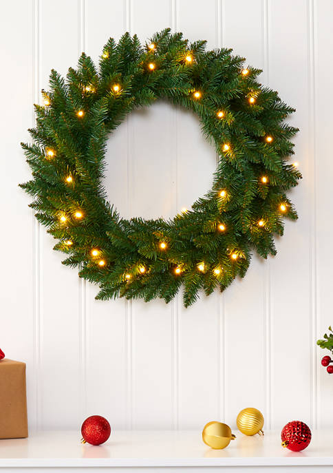 Nearly Natural Green Pine Christmas Wreath