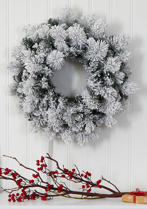 Nearly Natural Flocked Christmas Wreath