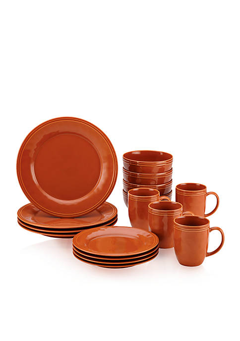 Rachael Ray Cucina 16-Piece Pumpkin Orange Dinnerware Set