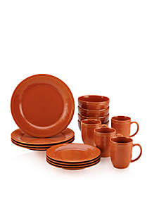 Cucina 16-Piece Pumpkin Orange Dinnerware Set