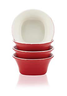 Round & Square 4-Piece Stoneware Fruit Bowl Set