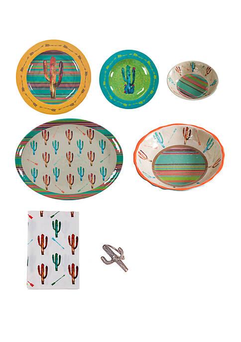 HiEnd Accents Cactus Melamine 25 Piece Set