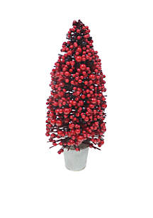 Red Berry Topiary In Galvanized Pot