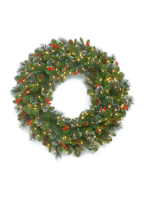 48-in. Crestwood Spruce Wreath with Clear Lights