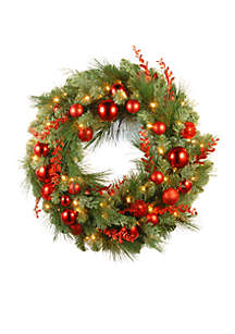 30-in. Decorative Collection Christmas Wreath with LED Lights