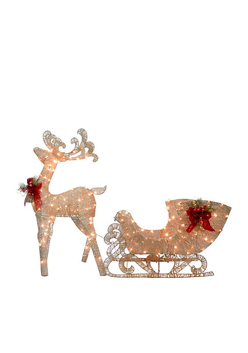 48-in. Champagne Reindeer Pulling Sleigh with LED Lights