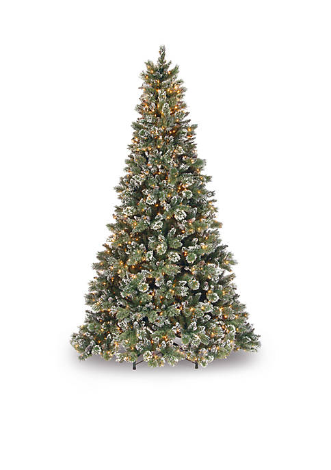 9 Foot Glittery Bristle Pine Tree With Clear Lights
