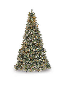 9-Ft. Glittery Bristle Pine Tree With Clear Lights