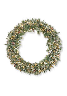 Glittery Bristle Pine Wreath with 200 Clear Lights