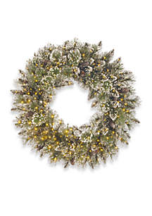 30-in. Glittery Bristle Pine Wreath with Infinity Lights
