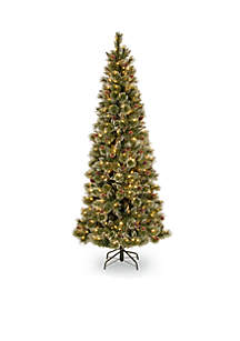 6.5-Ft. Glittery Bristle Pine Slim Tree With White LED Lights