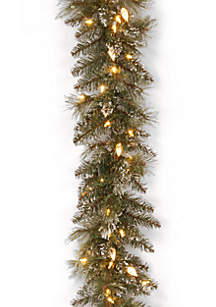 Glittery Bristle Pine Garland With LED Lights