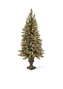 4-ft. Glittery Bristle Pine Entrance Tree with White Tipped Cones