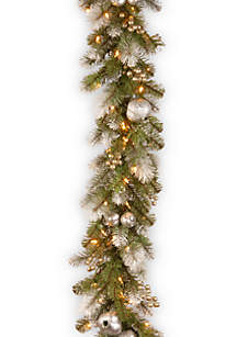 9-ft. Glittery Pomegranate Pine Garland with Clear Lights