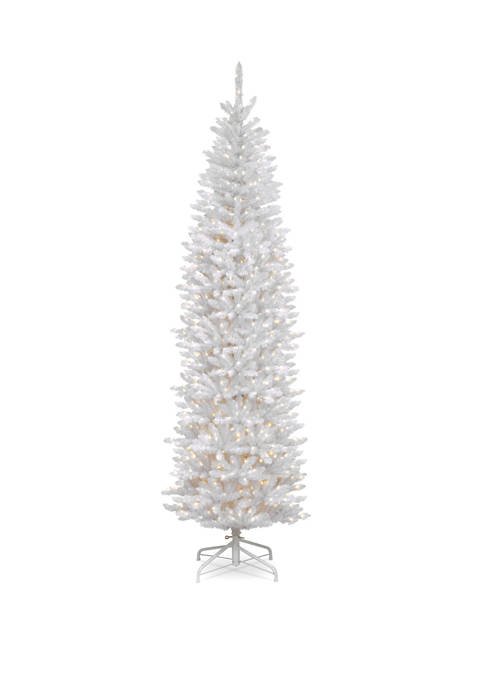 9 Foot Kingswood White Fir Pencil Tree with Clear Lights