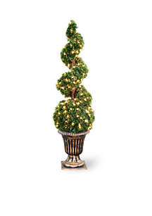 Cedar Spiral Tree With Ball In A Black & Gold Urn With 150 Clear Lights
