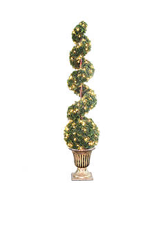 National Tree Company® Clear Spiral Tree With Ball In A Black & Gold Urn With 200 Clear Lights