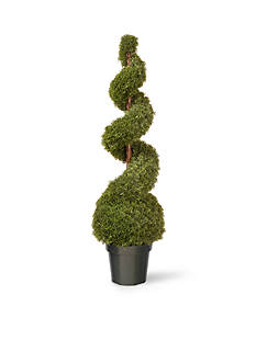 National Tree Company® Cedar Spiral with Ball In Green Pot