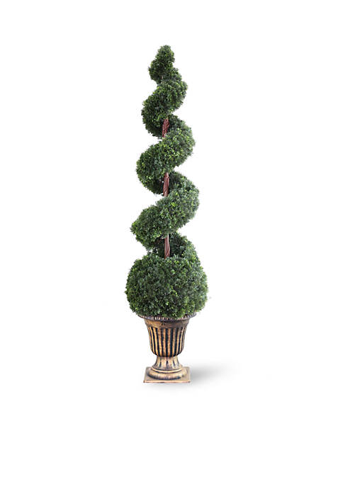 Cedar Spiral Tree With Ball In A Black & Gold Urn