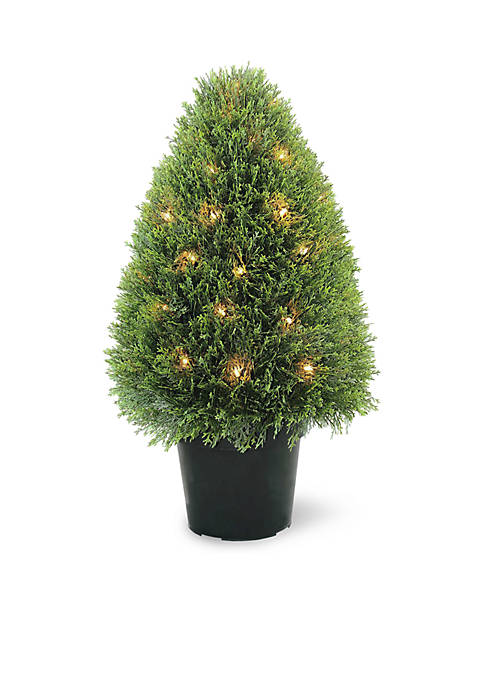 Upright Juniper Tree with Green Round Growers Pot with 50 Clear Lights