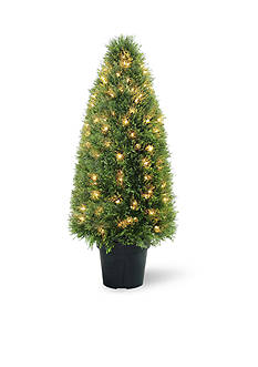 National Tree Company® Upright Juniper Tree With Green Round Growers Pot With 70 Clear Lights