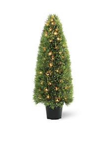 Upright Juniper Tree with Green Round Growers Pot with 100 Clear Lights