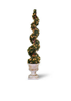 National Tree Company® Upright Juniper Spiral Tree in Decorative Urn with150 Clear Lights