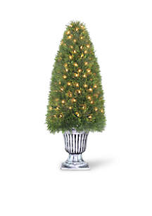 Upright Juniper Spiral Tree In Decorative Urn With 100 Clear Lights