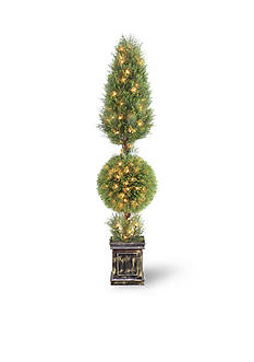 National Tree Company® Juniper Cone And Ball Topiary Tree With Black Square Pot & 200 Clear Lights