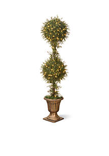 Mini Tea Leaf Two Ball Topiary with Black and Gold Urn