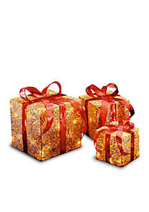 Assorted Sisal Gift Boxes With Lights