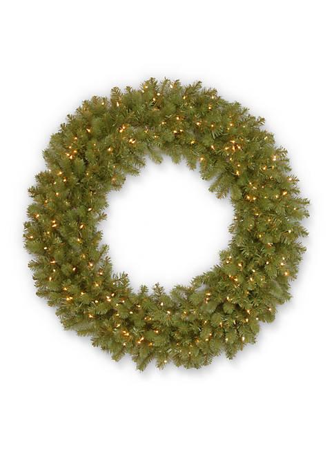 Feel Real Downswept Douglas Fir Wreath with Clear Lights